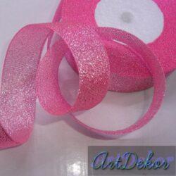 Лента парча 2,5 см розовая