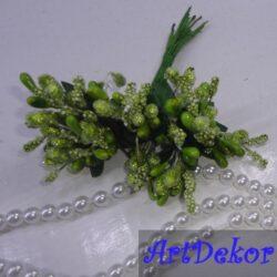 Додаток-незабудка оливкового цвета. В одном пучке 12 букетиков. Высота букетика 12 см. Диаметр 1,5 — 2,0 см.