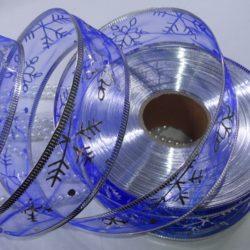 Лента органза новогодняя синяя 4 см