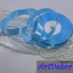 Лента атласная 1,2 см голубого цвета
