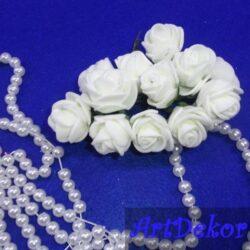 Роза с фома 2,2 -2,5 см белая