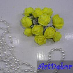 Роза с фома 2,2 -2,5 см желтая