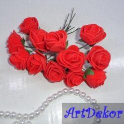 Роза 2,2 - 2,5 см ярко красного цвнта
