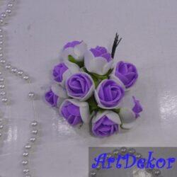 Роза с фома 2,2 см белая с фиолетовой срединой