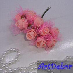 Роза из фоамирана с фатином на ножке Размер 2.5 см