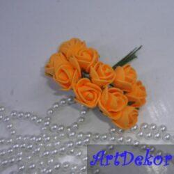 Роза 1.5 см оранжевого цвета, на ножке