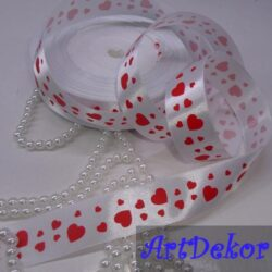 Лента атласная с рисунком сердечек, ширина ленты 2,5 см,