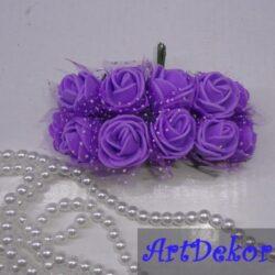 Роза из фоамирана с фатином на ножке Размер 2.5 см В букете 12 цветков Цена указана за букет