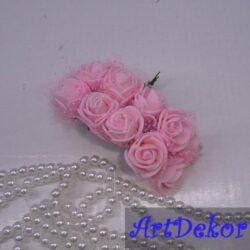Роза из фоамирана с фатином на ножке Размер 2.5 см В букете 12 цветков