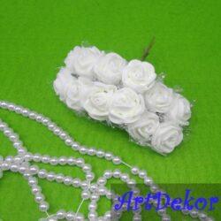 Роза из фома с фатином белая
