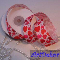 """Лента репсовая с рисунком """"сердца"""", ширина ленты 2,5 см"""