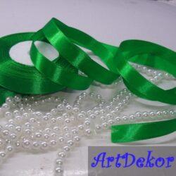 лента атласная 1,2 см зеленого цвета