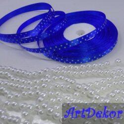 Лента атласная 0.6 см с горохами синяя