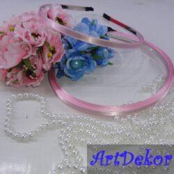 Обруч металл с атласной ленточкой 0.6 см розовый