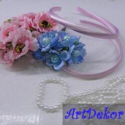 Обруч пластик обшитый атласом, мягкий, 0.8 см розовый