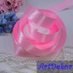 Лента атласная розовая в горох шириной 2.5 см