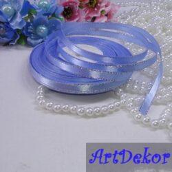 Лента атласнай 0.6 см с люрексом голубая с серебристой ниткой