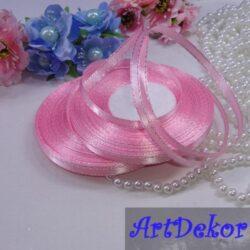 Лента атласнай 0.6 см с люрексом розовая с серебристой ниткой