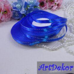 Лента атласнай 0.6 см с люрексом синяя с серебристой ниткой