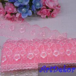 Кружево цветочек розовое