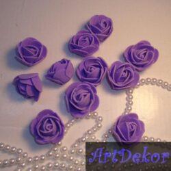 Роза из фоамирана 3 см фиолетового цвета