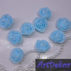 Роза из фоамирана 3 см голубого цвета