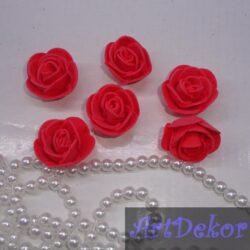 Роза 3 см ярко красная