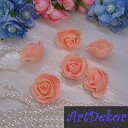 Роза из фоамирана 3 см светлый персик