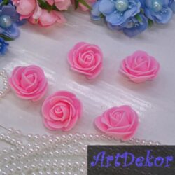 Роза из фоамирана 3 см розового цвета