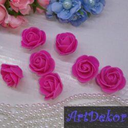 Роза из фоамирана 3 см малинового цвета