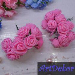 Роза 3-3.5 см розового цвета из фоамирана