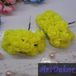 Роза 3-3.5 см желтого цвета из фоамирана