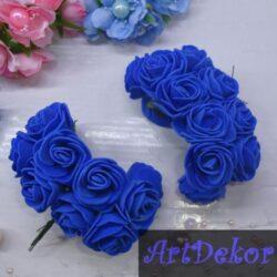 Роза 3-3.5 см синего цвета из фоамирана