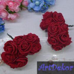 Роза 3-3.5 см бардового цвета из фоамирана