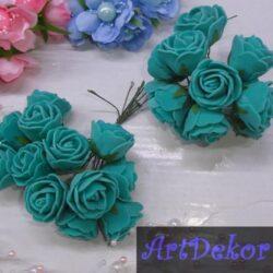 Роза 3-3.5 см изумрудного цвета из фоамирана