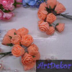 Роза 3-3.5 см оранжевого цвета из фоамирана