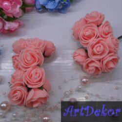 Роза 3 см персикового цвета из фоамирана