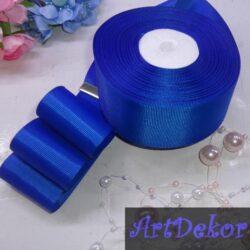 Лента репсовая однотонная, синего цвета ширина 4 см.