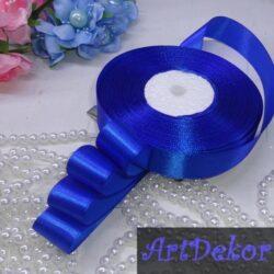 лента атласная 2 см синего цвета