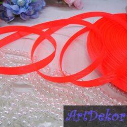 Лента репсовая однотонная 0,9 см маркерно-оранжевая