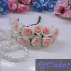Роза 1,5 см белые с ярко персиковой срединкой