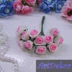 Роза 1,5 см белые с ярко розовой срединкой