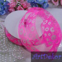 Лента органза 2.5 см с рисунком цветочек, ярко розовая