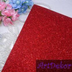 Фоамиран глитерный на клейкой основе красный