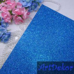 Фоамиран с глиттером на клейкой основе, голубой