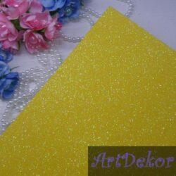 Фоамиран с глиттером на клейкой основе, желтый