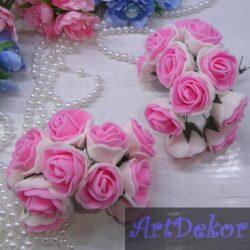 Роза 3-3.5 см белый+розовый из фоамирана