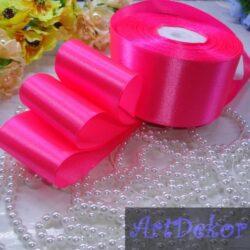 Лента атласная 5 см насыщенный яркий розовый