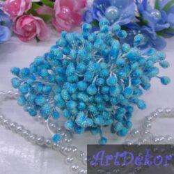 Тычинки сахарные на нитке голубого цвета