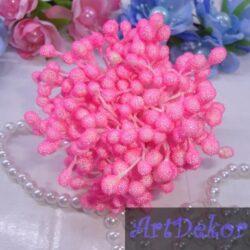 Тычинки сахарные на нитке ярко розового цвета